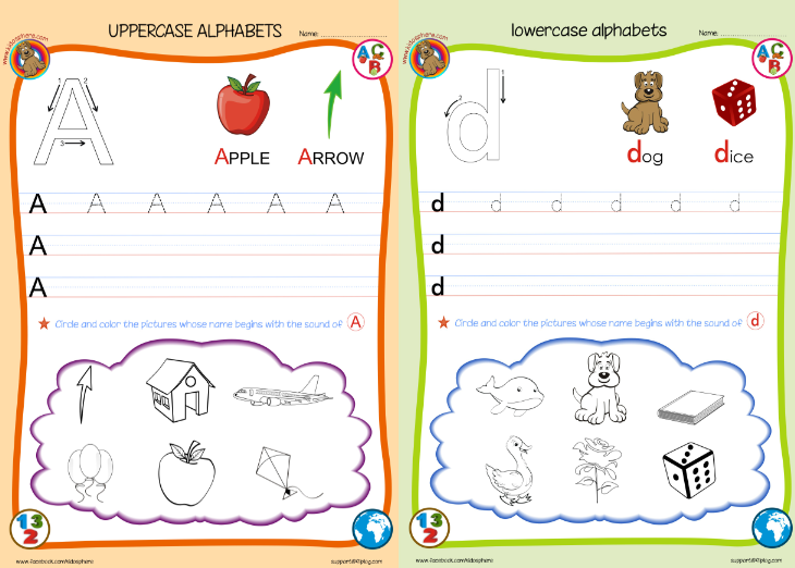 ABC uppercase lowercase worksheets | Kidosphere